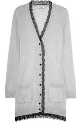 Moschino Cheap & Chic Lace-trimmed Wool Cardigan - Lyst