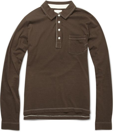 Billy Reid Cotton Long Sleeve Polo Shirt In Brown For Men