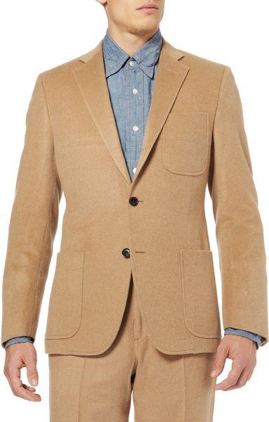 Billy Reid Slim Fit Camel Hair Suit Jacket In Beige For