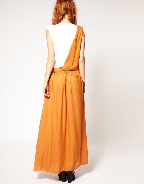 diesel drape detail maxi skirt in yellow mustard lyst