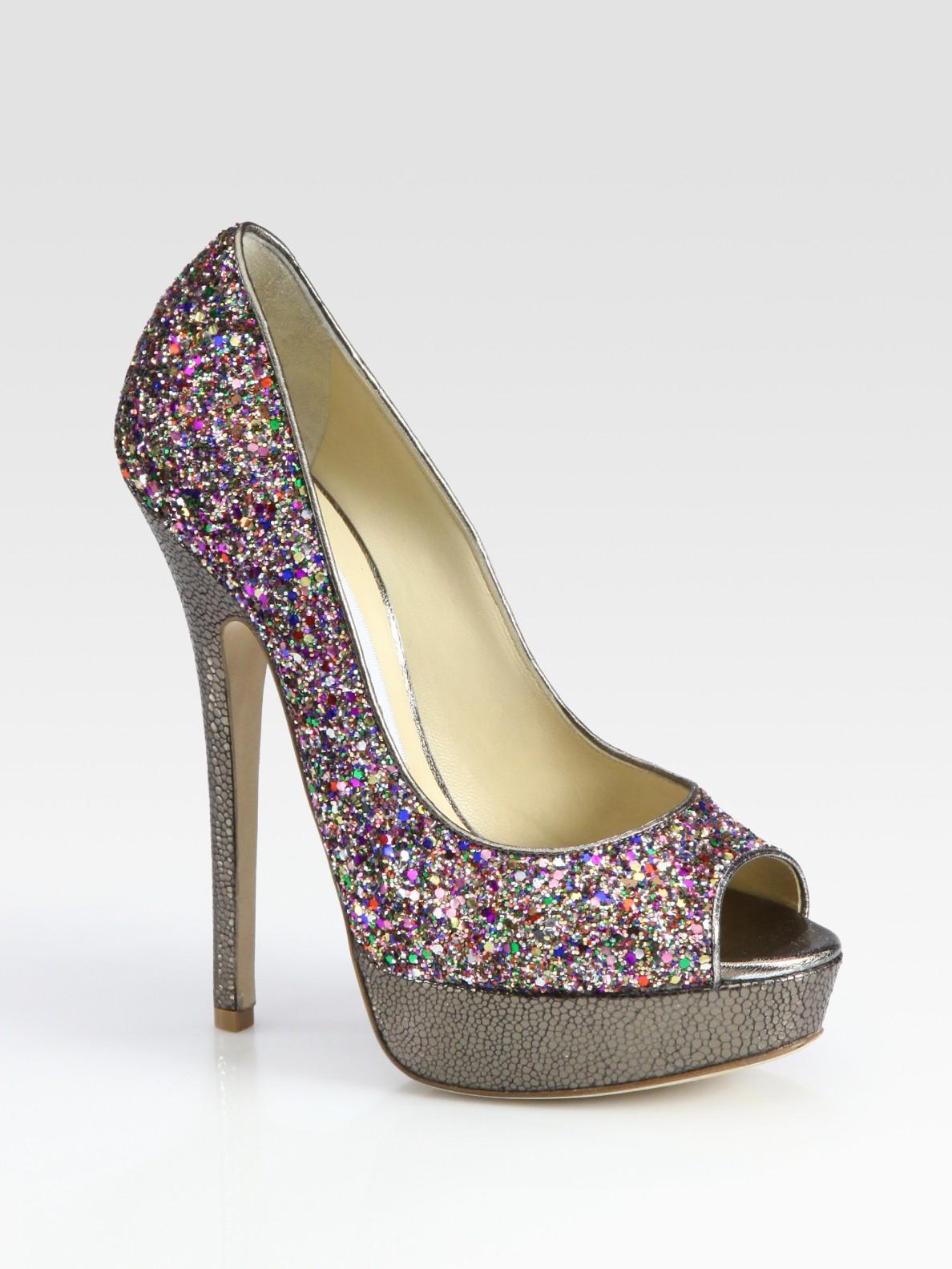 c8c6a7cd477 Lyst - Jimmy Choo Vibe Glitter-coated Leather Peep Toe Pumps in Purple
