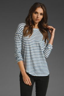 Vince Fisherman Stripe Top in Heather White/heather Blue - Lyst
