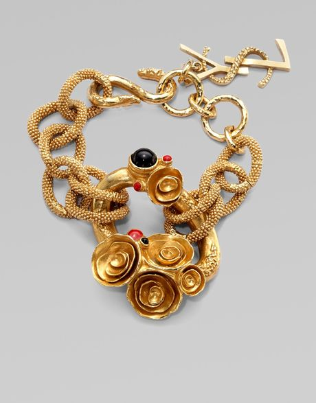Saint Laurent Arty Enamel Accented Goldtone Bracelet In