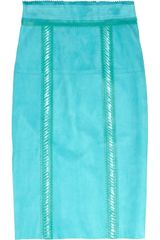 Burberry Prorsum Raffiatrimmed Suede Pencil Skirt in Blue (aqua) - Lyst