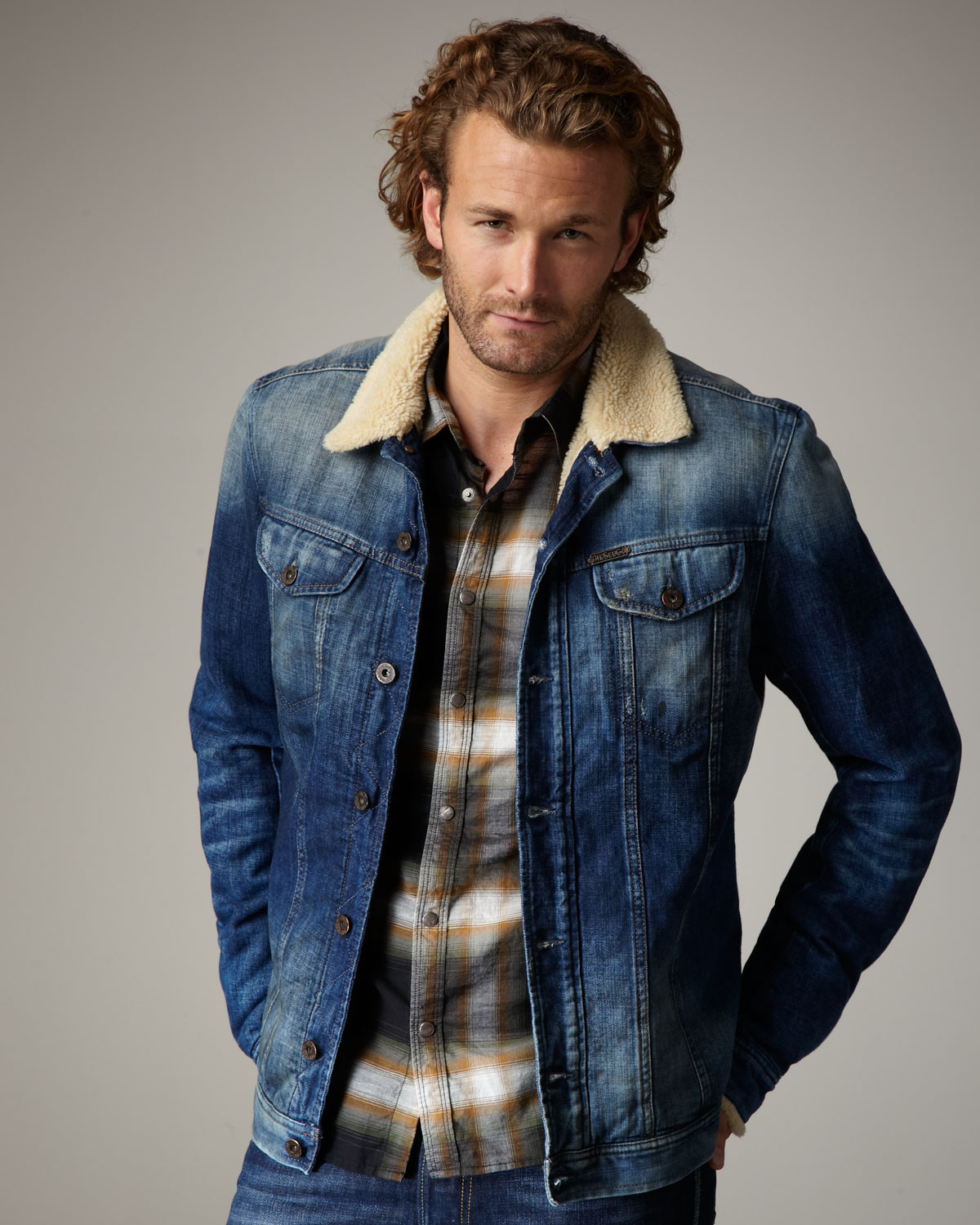 Diesel Faux Fur-lined Denim Jacket in Blue for Men | Lyst