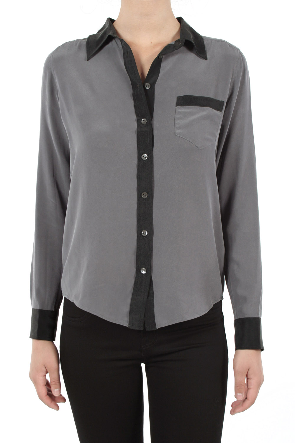 Equipment color block button down blouse grey black in for Grey button down shirt