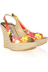Jimmy Choo Polar Tropical-print Espadrille Wedges