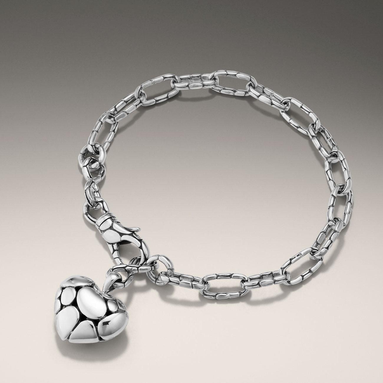 Lyst John Hardy Link Bracelet With Heart Charm In Metallic