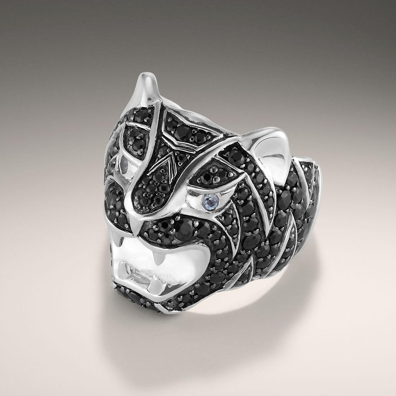 John Hardy Tiger Head Ring In Black For Men