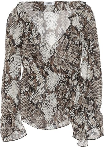 Moschino Cheap & Chic Snake-Print Wrap Blouse - Lyst