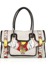 Proenza Schouler Ps1 Keep All Small Canvas and Leather Tote in Multicolor (taupe) - Lyst