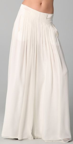 Rag & Bone Satin-trimmed Silk-chiffon Maxi Culottes in Beige (cream)