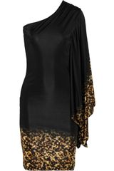Roberto Cavalli Oneshoulder Satinjersey Dress in Black - Lyst