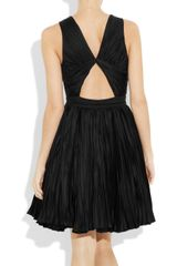 Roberto Cavalli Pleated Cottonblend Dress in Black - Lyst