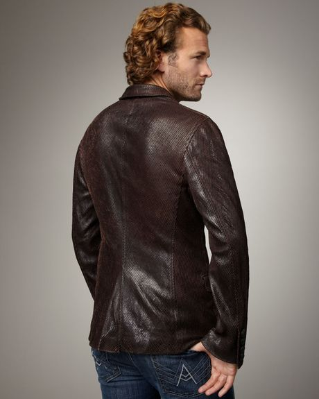 Royal Underground Snake Embossed Leather Blazer In Brown