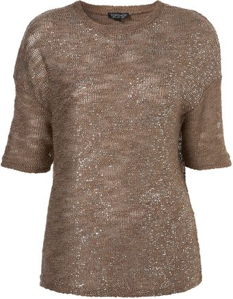 Topshop Foil Tesxture Sweat - Lyst