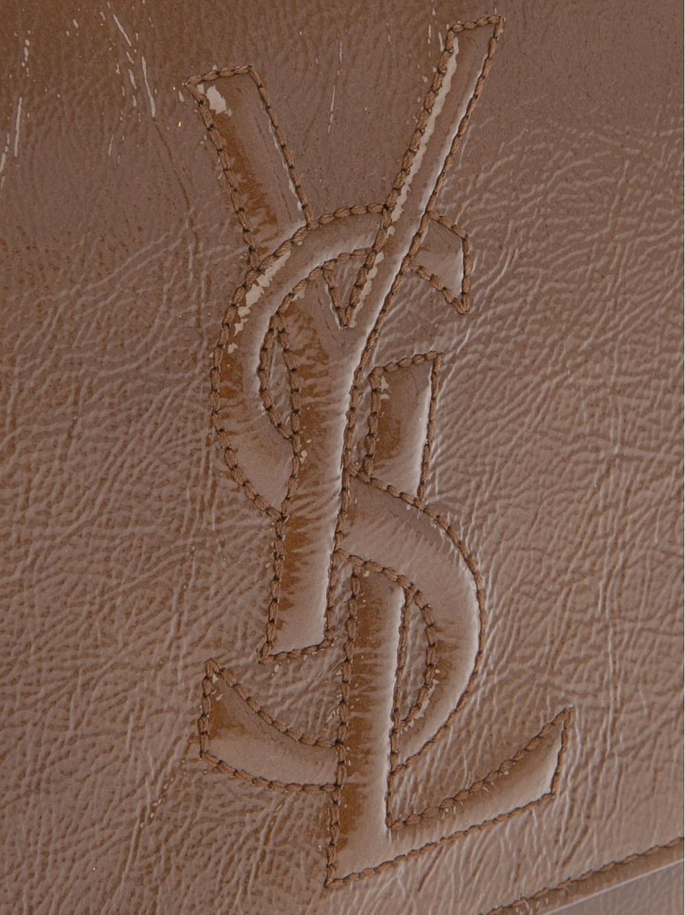 Saint laurent Embossed Leather Wallet in Beige (camel) | Lyst