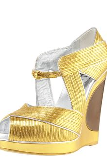 Yves Saint Laurent Piped Wedge Sandal - Lyst
