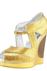 Saint Laurent Piped Wedge Sandal - Lyst
