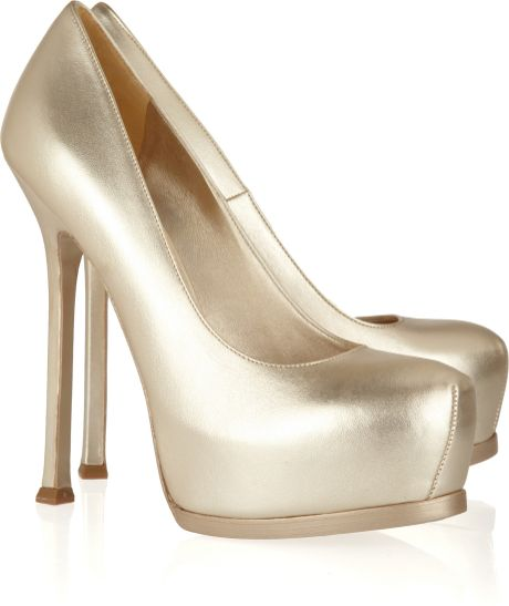 Yves Saint Laurent Tribute Metallic Leather Pumps in Gold - Lyst