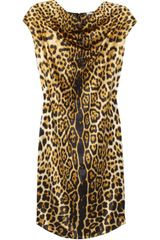 Yves Saint Laurent Leopard-print Silk-Satin Dress - Lyst