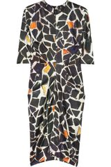 Zero + Maria Cornejo Toia Printed Stretch Silk-satin Dress - Lyst