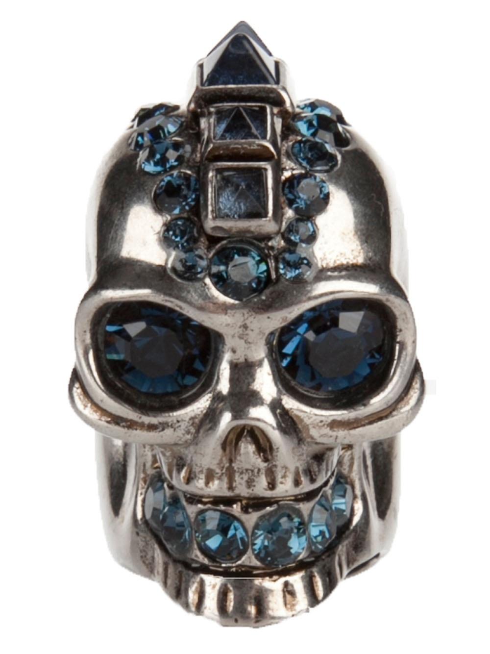 Lyst Alexander Mcqueen Punk Skull Ring In Metallic