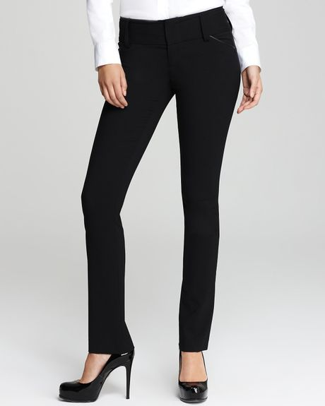 Alice + Olivia Leather Trim Olivia Slim Leg Pants in Black - Lyst
