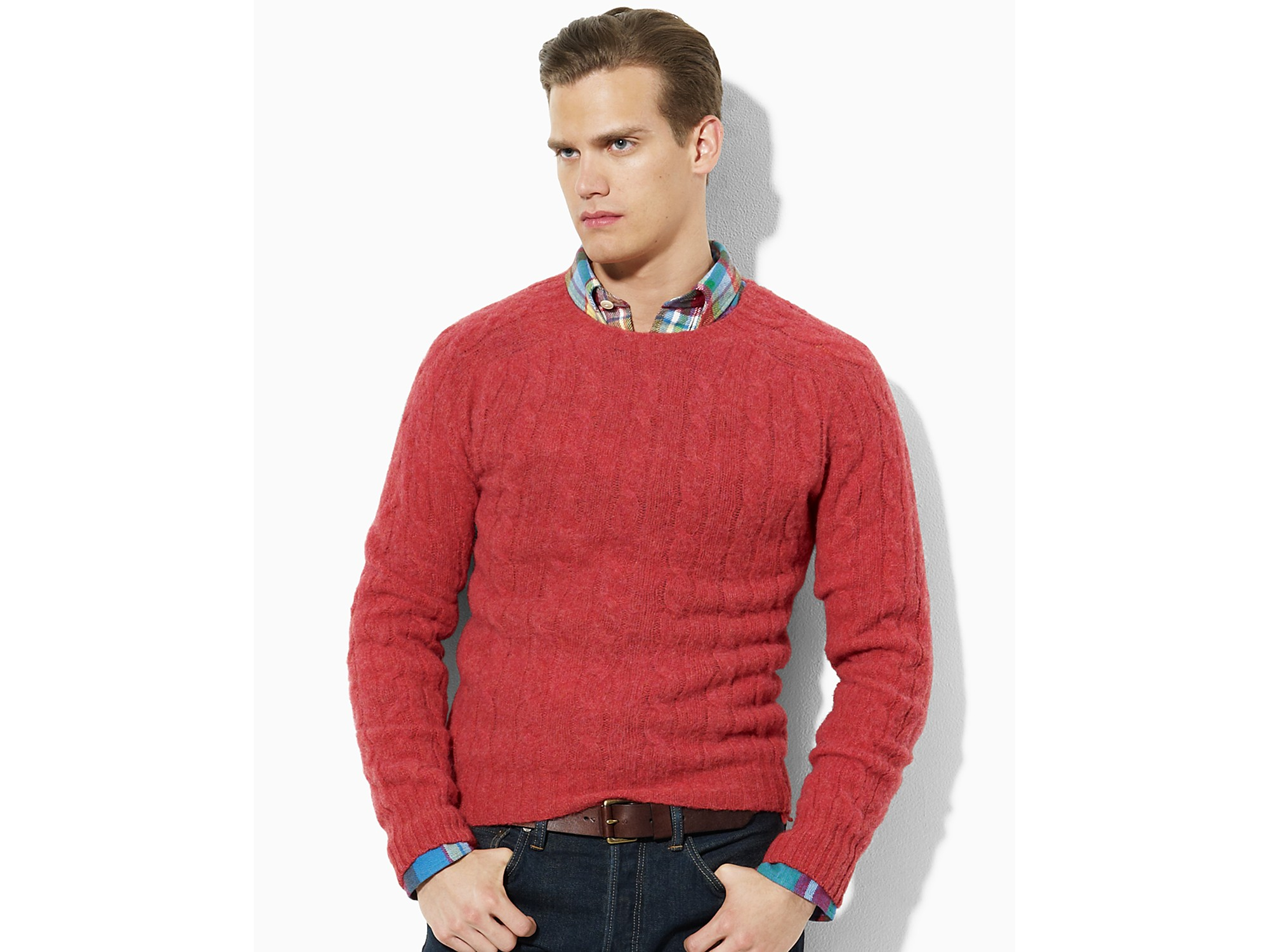 Lyst Ash Polo Ralph Lauren Wool Cashmere Cable Knit Sweater In