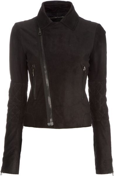 Balenciaga Suede Biker Jacket in Black - Lyst