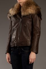 Balmain Fur Collar Leather Jacket in Brown - Lyst