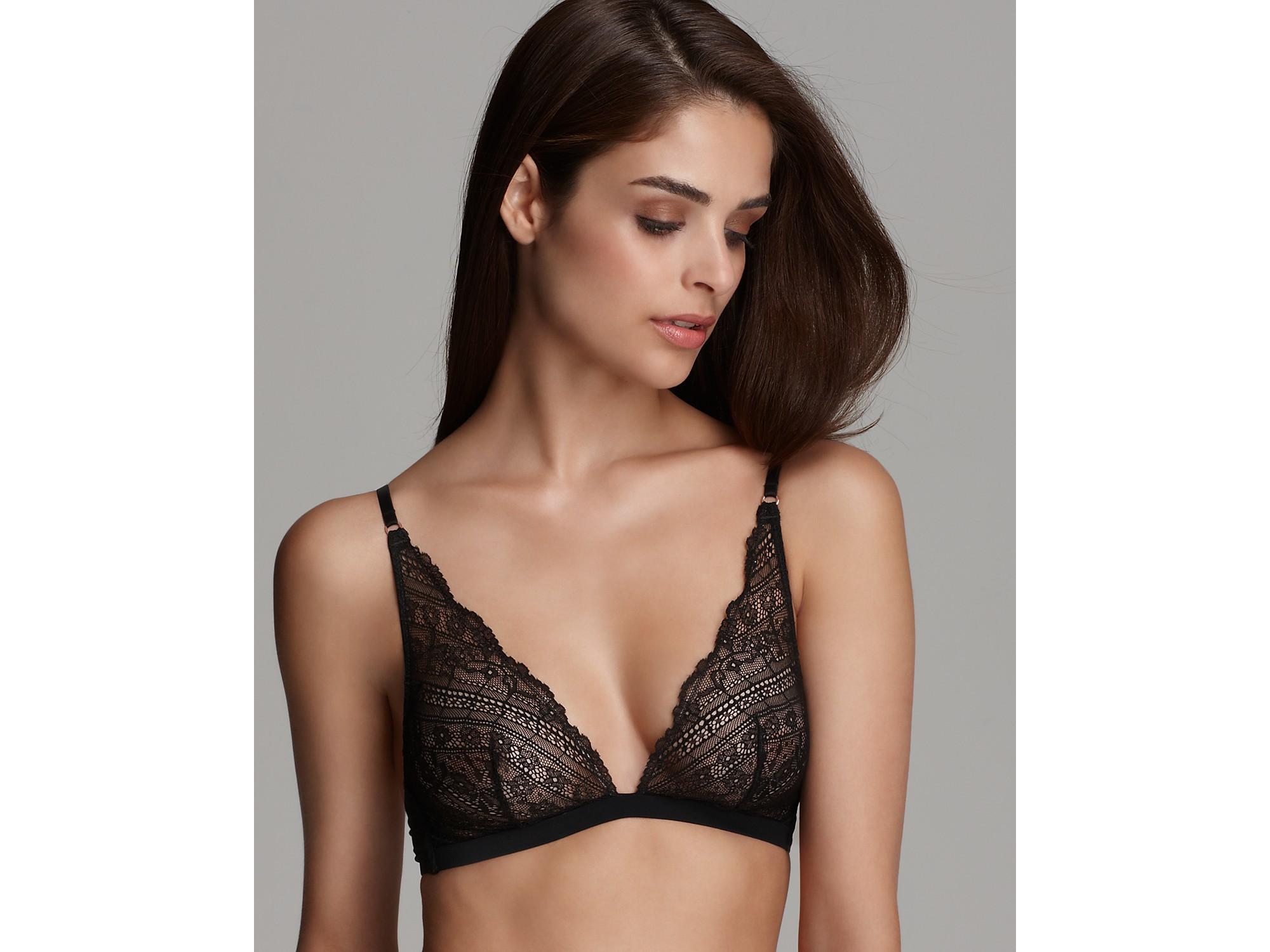 d67f302e97 Lyst - Calvin Klein Underwear Envy Lace Triangle Bra in Black