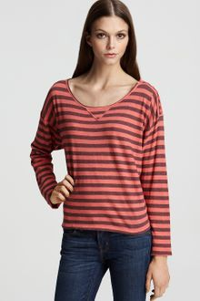 C&c California Striped Drop Shoulder Crewneck - Lyst