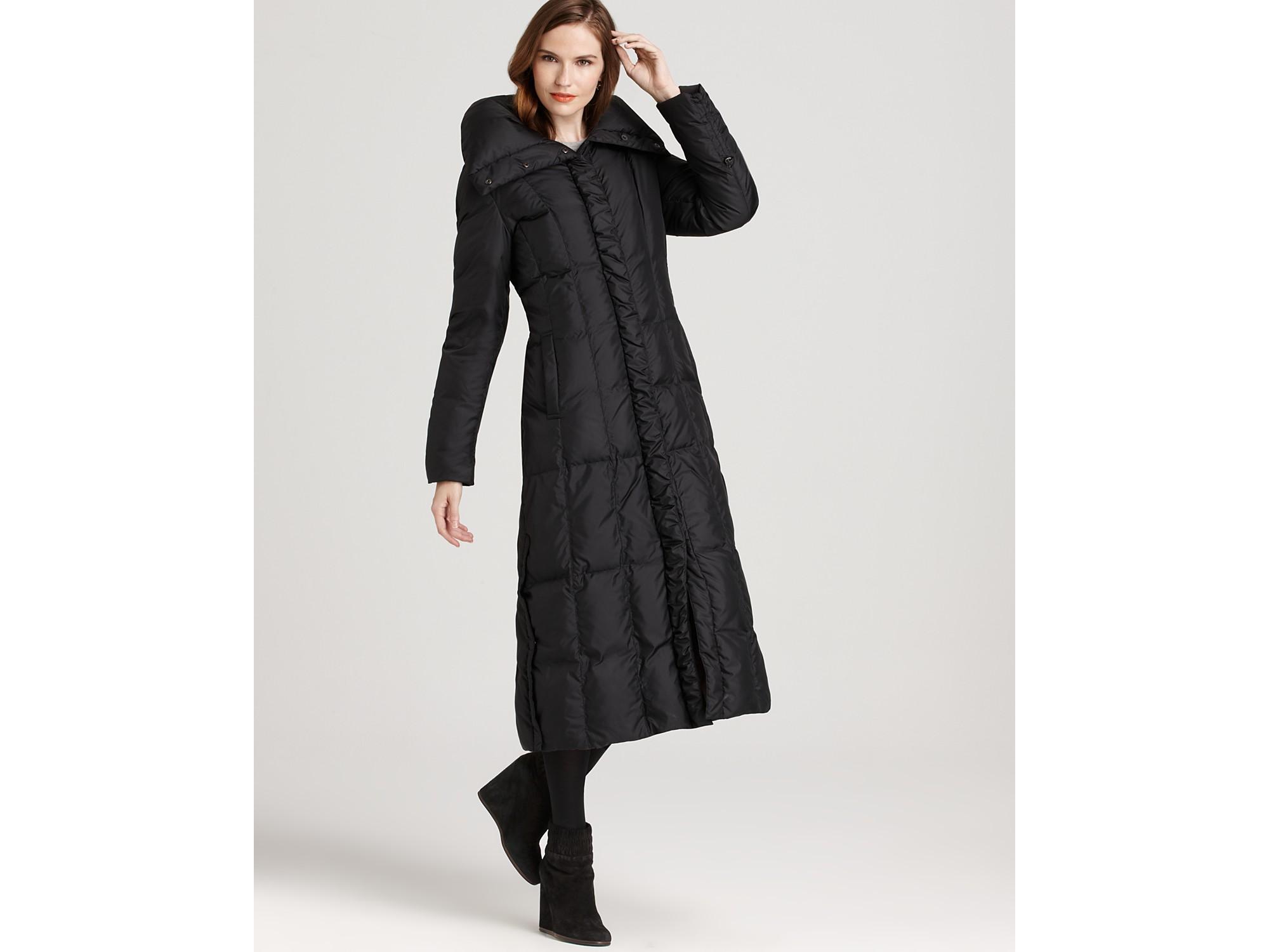 Cole haan Down Maxi Coat in Black | Lyst