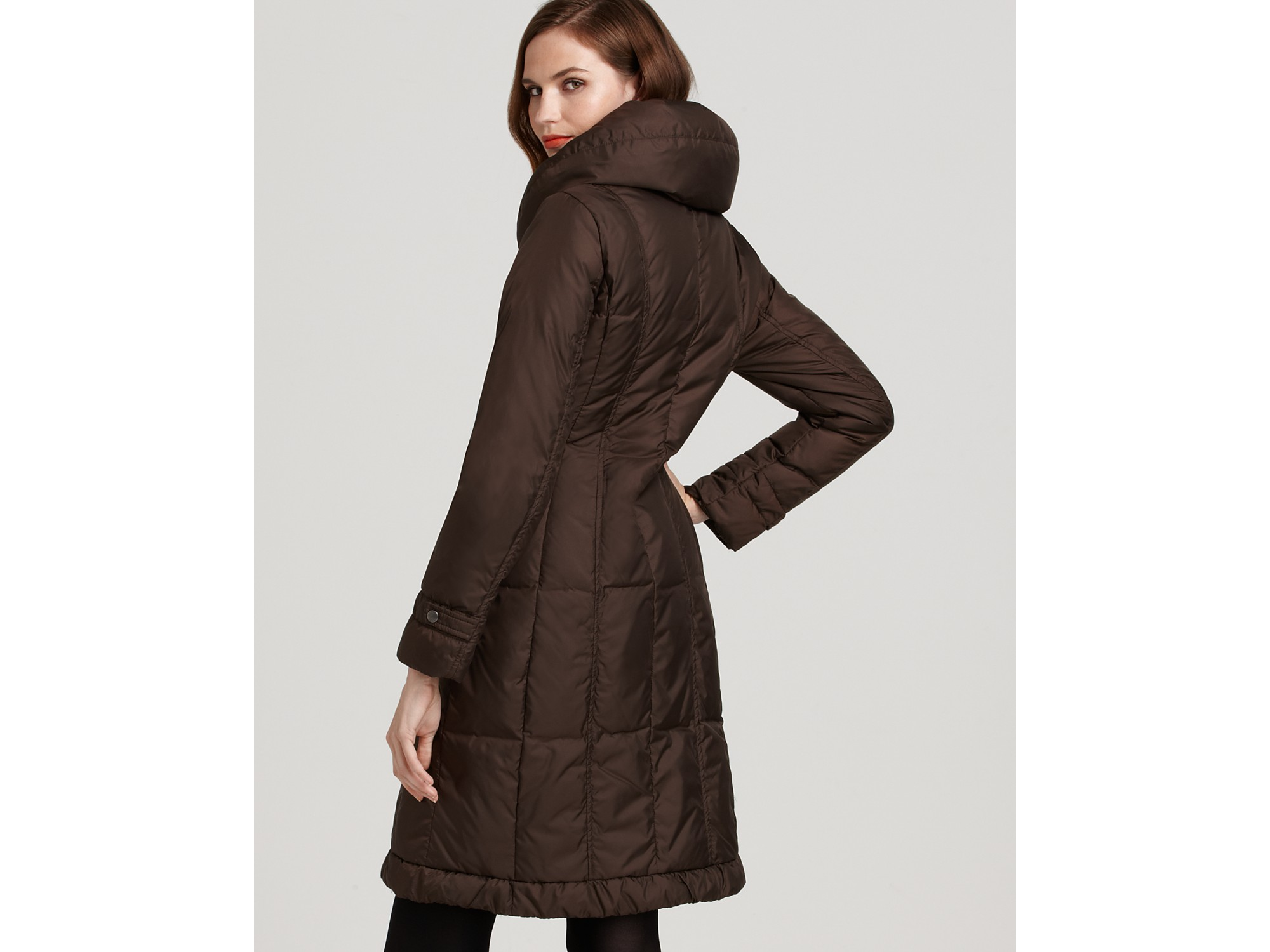 Cole haan Mid Length Down Coat in Brown   Lyst