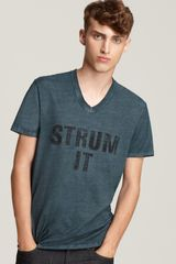 Converse Black Canvas Short Sleeve Strum It V Neck Tee - Lyst