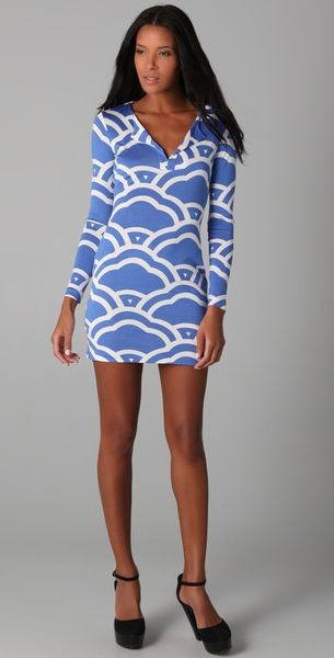 Diane Von Furstenberg Reina Long Sleeve Dress in Blue