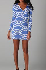 Diane Von Furstenberg Reina Long Sleeve Dress in Blue - Lyst