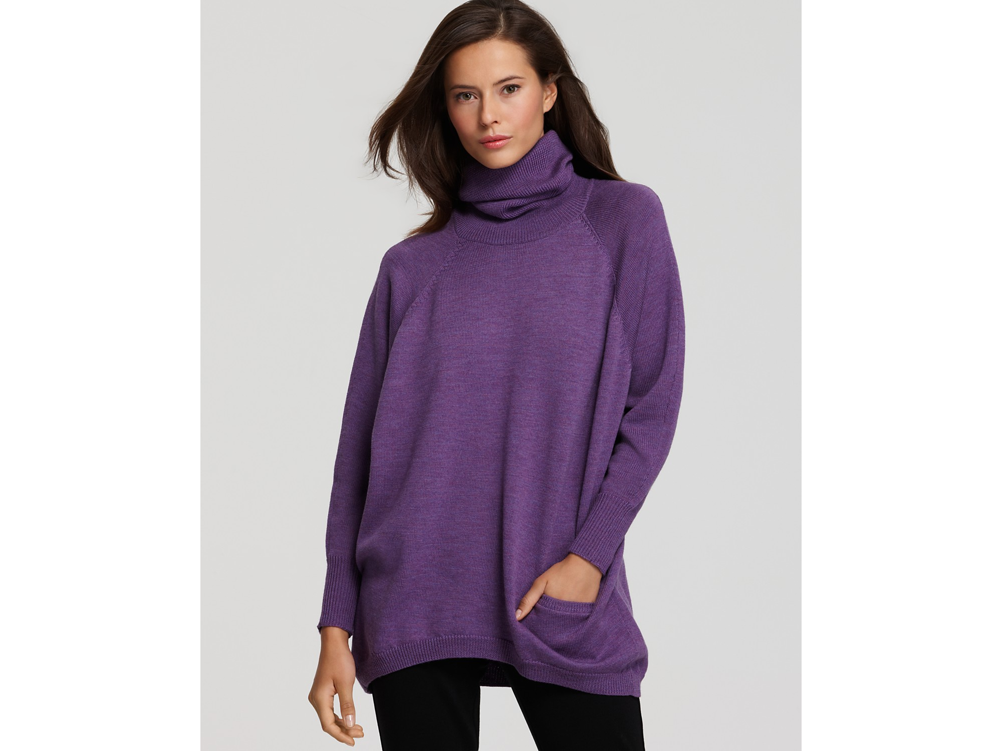 Eileen fisher Long Sleeve Turtleneck Tunic Sweater in Gray | Lyst