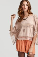 Free People Lace Inset Crop Tee - Lyst