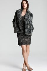 French Connection Faux Fur Jacket in Gray (grey mix) - Lyst