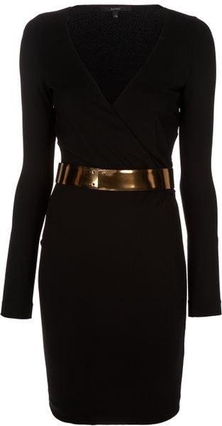Gucci Wrap Dress in Black - Lyst