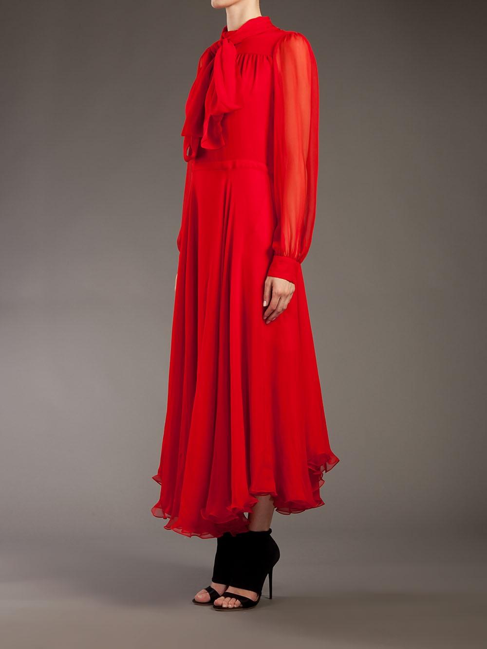 Red Silk Chiffon Dress