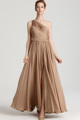 Halston Heritage Silk Chiffon One Shoulder Gown - Lyst