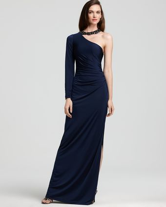 Hoaglund New York Jersey One-shoulder Jewel-collar Gown - Lyst