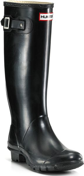 Hunter Huntress Extended Calf Rain Boots In Black Navy
