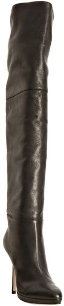 Jimmy Choo Black Leather April Knee High Boots in Black - Lyst
