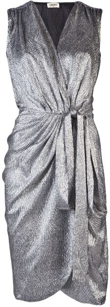 L'Agence Foil Wrap Dress - Lyst