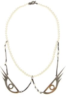 Maria Francesca Pepe Pearl Collar with Eye Charm - Lyst