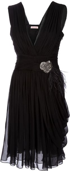 Matthew Williamson Pleated Embellished Dress in Black - Lyst